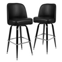 Flash Furniture Black Metal Swivel Bucket Seat Bar Stools (Set of 2)