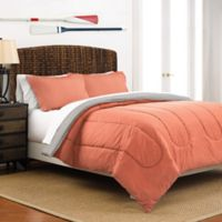 Martex 2-Tone Reversible Full/Queen Comforter Set in Coral/Light Grey