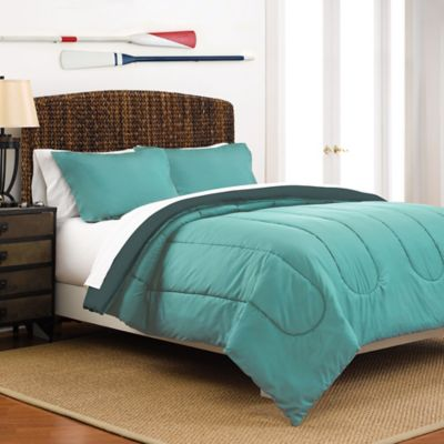 Good Martex 2 Tone Reversible Full/Queen Comforter Set In Turquoise/Teal