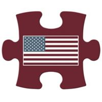 """WallVerbs™ Mix & Match Puzzle Wall Art """"Full Flag"""" Piece in Burgundy"""