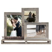 """Live Laugh Love"" 3-Opening Decorative Wood and Metal Frame"