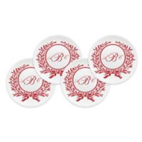 93 West Maison Rimmed Canapé Plates in White/Red Laurel (Set of 4)