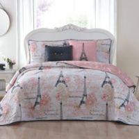 Amour Reversible Queen Quilt Set in Pink
