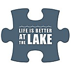 "WallVerbs™ Mix & Match Puzzle Wall Art ""Life is Better at the Lake"" Piece in Blue"