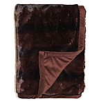 Stripe Faux Fur Throw Blanket in Espresso