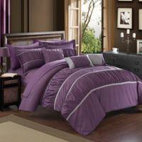Chic Home Aero 10-Piece Queen Comforter Set in Plum