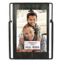 Fetco Home Décor™ Farmhouse 5-Inch x 7-Inch Wood Back and Iron Easel Frame in Rustic Black