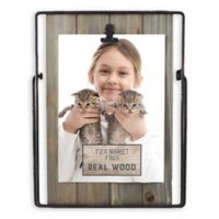 Fetco Home Décor™ Farmhouse 5-Inch x 7-Inch Wood Back and Iron Easel Frame in Rustic Brown