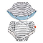 Lassig™ Size 12M 2-Piece Submarine Swim Diaper and Reversible Hat Set in Grey