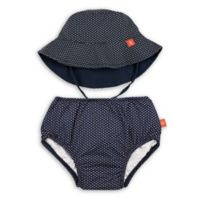 Lassig™ Size 18M 2-Piece Polka Dot Swim Diaper and Reversible Hat Set in Navy