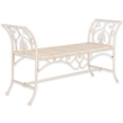Safavieh Adina Wrought Iron Outdoor Garden Bench in Antique White
