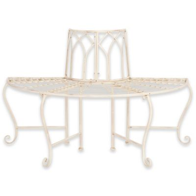 white wrought iron furniture. Safavieh Abia Wrought Iron Tree Bench In Antique White Furniture