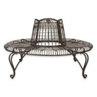 Safavieh Ally Darling Wrought Iron Tree Bench in Antique White