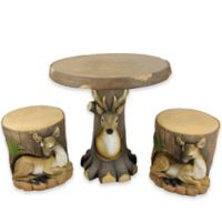 3-Piece Resin Deer & Fawn in Tree Table and Chair Set