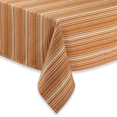 Beau Sam Hedaya Avery Stripe 52 Inch Square Tablecloth In Spice