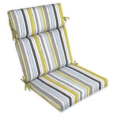 Selections By Arden Kenda Stripes Outdoor Cartridge Chair Cushion In Grey  /Aquamarine