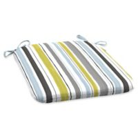 Arden Selections Kenda Stripe Outdoor Seat Pad in Grey/Aquamarine