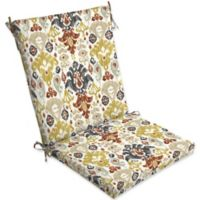 Arden Selections Kenda Ikat Outdoor Cartridge Chair Cushion in Grey/Gold
