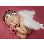 Tiny Blessings Boutique Newborn 2-Piece Rhinestone Headband and Angel Wing Set in White