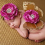 Tiny Blessings Boutique Newborn 2-Piece Headband and Butterfly Wing Set in Brown/Raspberry