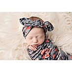 Tiny Blessings Boutique Swaddle Blanket and Headband Set in Grey