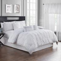 Pom Pom 7-Piece Queen Comforter Set in White