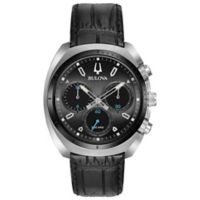 Bulova Men's 43mm Curv Chronograph Watch in Stainless Steel with Black Leather Strap