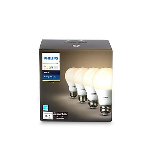 philips hue 4 pack 60 watt equivalent a19 smart led light bulbs bed bath beyond. Black Bedroom Furniture Sets. Home Design Ideas
