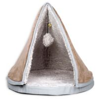 PETMAKER Cat Pet Bed with Removable Teepee Top in Tan