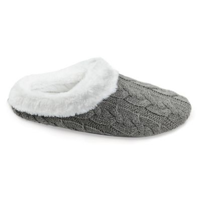 Loft Living X Large Memory Foam Cable Knit Slippers In Grey