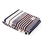 Nautica® Large Stripe Ultra Soft Plush Throw Blanket in Grey/Navy