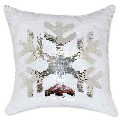 Sequin Snowflake Mermaid Sequin Throw Pillow