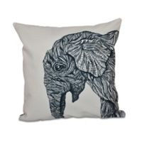 E by Design El Elfante Animal Print Square Throw Pillow in Black