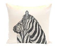 E by Design La Cebra Animal Print Square Throw Pillow in Ivory