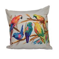 E by Design Happy Birds Animal Print Square Throw Pillow in Bisque