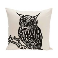E by Design Hootie Animal Print Square Throw Pillow in Black