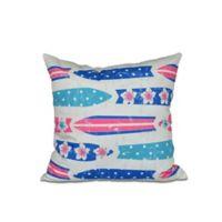 E by Design Dean Geometric Print Square Throw Pillow in Blue