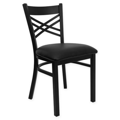 flash furniture black metal x back chair with black vinyl seat
