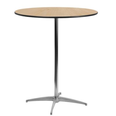 Flash Furniture Height Adjustable 36 Inch Round Cocktail Table In Natural