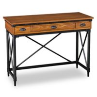 Southern Enterprises Luther 2-Drawer Industrial Writing Desk with Keyboard Tray in Oak