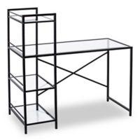 Southern Enterprises Dillon Metal/Glass Writing Desk in Black
