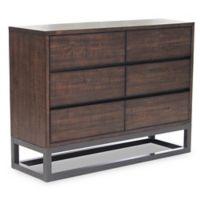 Pulaski Modern Industrial 6-Drawer Dresser in Brown