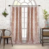 Elrene Annalise Floral Linen Grommet 84-Inch Tie Top Window Curtain Panel in Dusty Rose