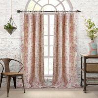 Elrene Annalise Floral Linen Grommet 84-Inch Tie Top Window Curtain Panel in Dusty Rose