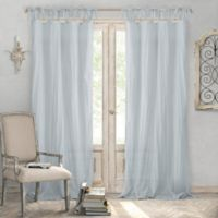 Elrene Home Fashions® Jolie 108-Inch Tie Top Sheer Window Curtain Panel in Soft Blue