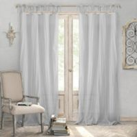 Elrene Home Fashions® Jolie 95-Inch Tie Top Sheer Window Curtain Panel in Grey