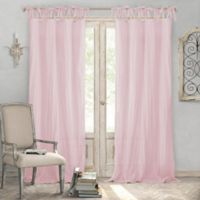 Elrene Home Fashions® Jolie 95-Inch Tie Top Sheer Window Curtain Panel in Blush
