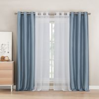 Kensie Evangeline 84-Inch Grommet Window Curtain Panel Pair in Blue