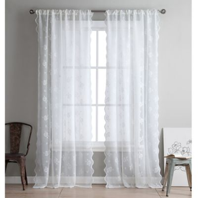 kensie ava 96inch rod pocket lace window curtain panel pair in off white
