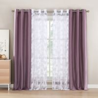 Kensie Genevieve 84-Inch Rod Pocket Window Curtain Panel Pair in Elderberry